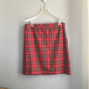 NWT Talbots Red Plaid Skirt in Size 12